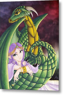 Elf Girl And Dragon Metal Print