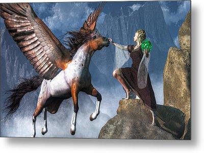 Elf Summoning A Pegasus Metal Print