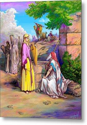 Metal Print featuring the painting Eliezer N Rebekah by Sam Shacked