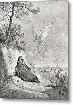 Elijah Nourished By An Angel. After A Metal Print