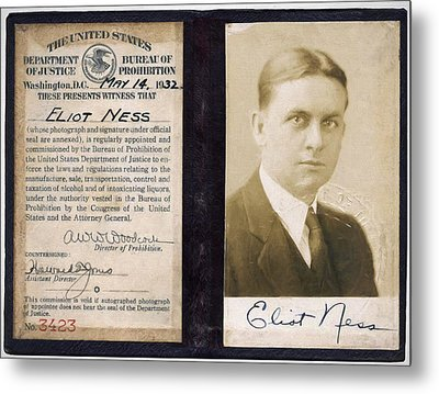 Eliot Ness - Untouchable Chicago Prohibition Agent Metal Print by Daniel Hagerman