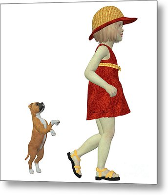 Eliza With Boxer Puppy Metal Print by Corey Ford