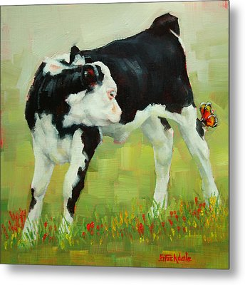 Elly The Calf And Friend Metal Print by Margaret Stockdale