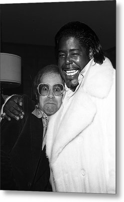 Elton John And Barry White Metal Print by James Fortune