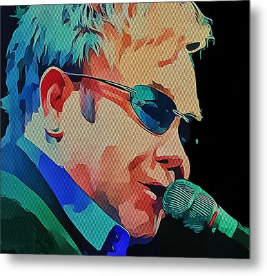 Elton John Blue Eyes Portrait 2 Metal Print by Yury Malkov