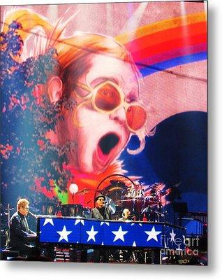 Elton John Then And Now Metal Print by Allen Meyer