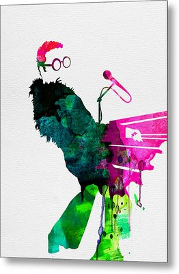 Elton Watercolor Metal Print by Naxart Studio