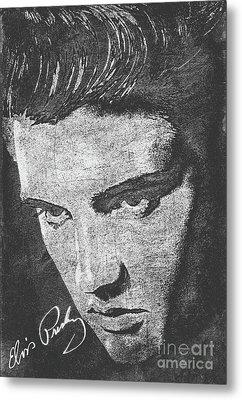 Elvis Preslely - Black And White  Metal Print
