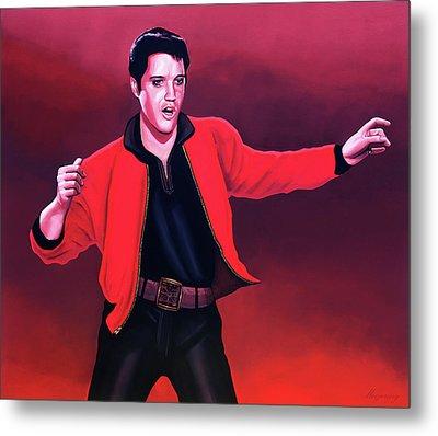 Elvis Presley 4 Painting Metal Print by Paul Meijering