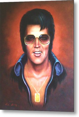 Metal Print featuring the painting Elvis Presley by Loxi Sibley