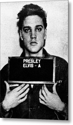 Elvis Presley Mug Shot Vertical 1 Metal Print by Tony Rubino