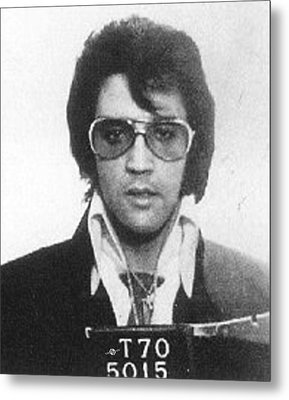 Elvis Presley Mug Shot Vertical Metal Print by Tony Rubino
