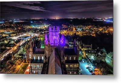 Ely Cathedral In Purple Metal Print