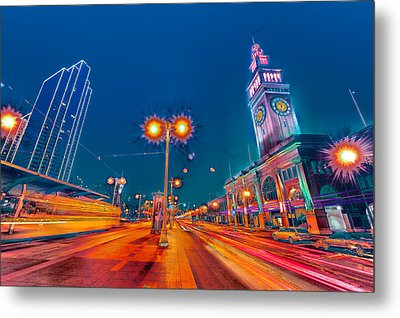 Metal Print featuring the photograph Embarcadero Lights by Steve Siri