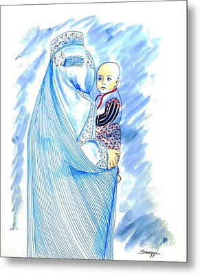 Embroidered Blue Lady-cage -- Woman In Burka Metal Print