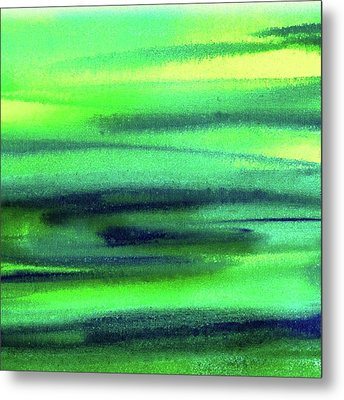 Emerald Flow Abstract Painting Metal Print