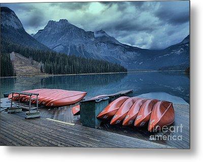 Emerald Lake Canoes Metal Print