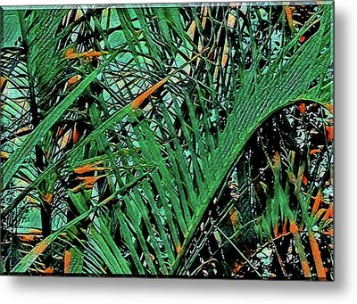 Metal Print featuring the digital art Emerald Palms by Mindy Newman