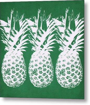 Metal Print featuring the mixed media Emerald Pineapples- Art By Linda Woods by Linda Woods