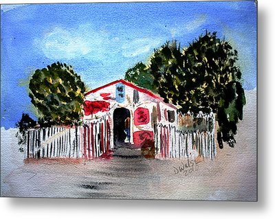 Metal Print featuring the painting Emiles Road Side Grocer by Donna Walsh