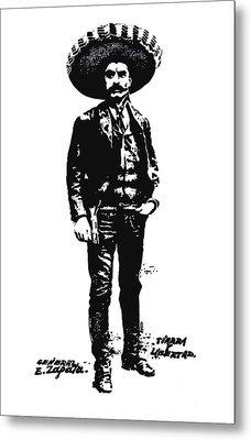 Metal Print featuring the drawing Emiliano Zapata by Antonio Romero