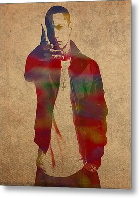 Eminem Watercolor Portrait Metal Print