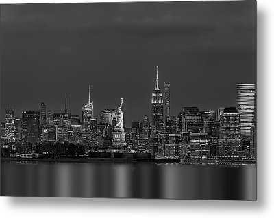 Empire State And Statue Of Liberty Bw Metal Print