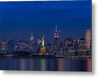 Empire State And Statue Of Liberty Metal Print