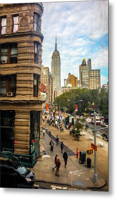 Metal Print featuring the photograph Empire State Building - Crackled View 3 by Madeline Ellis
