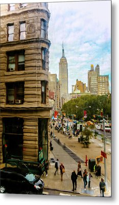 Metal Print featuring the photograph Empire State Building - Crackled View by Madeline Ellis