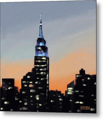 Empire State Building Ombre New York Skyline Metal Print by Beverly Brown
