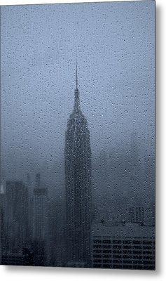 Empire State In The Rain Metal Print