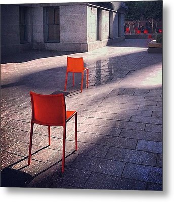 Empty Chairs At Mint Plaza Metal Print by Julie Gebhardt