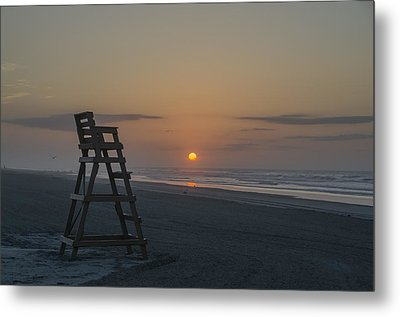Empty Lifeguard Chair At Sunrise Metal Print by Bill Cannon