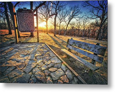 Metal Print featuring the photograph Empty Park Bench - Sunset At Lapham Peak by Jennifer Rondinelli Reilly - Fine Art Photography