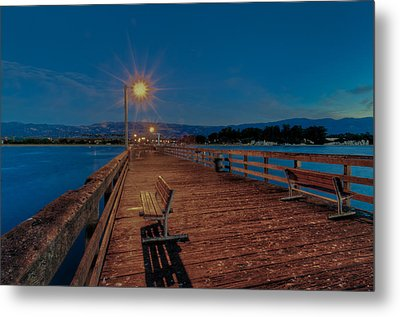 Empty Pier Glow Metal Print by Connie Cooper-Edwards