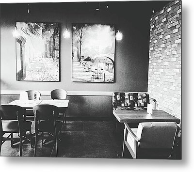 Empty Seat In Coffee Shop. Metal Print