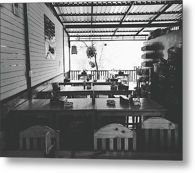 Empty Seat In Open Local Restaurant Black And White Color Metal Print