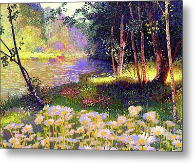 Enchanted By Daisies, Modern Impressionism, Wildflowers, Silver Birch, Aspen Metal Print by Jane Small