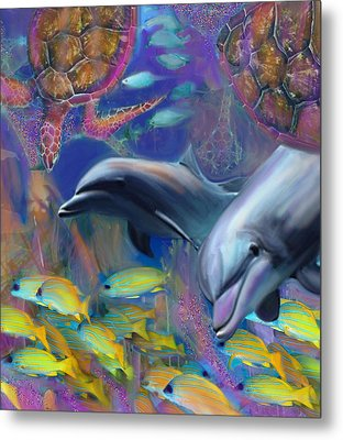 Enchanted Dolphins Metal Print