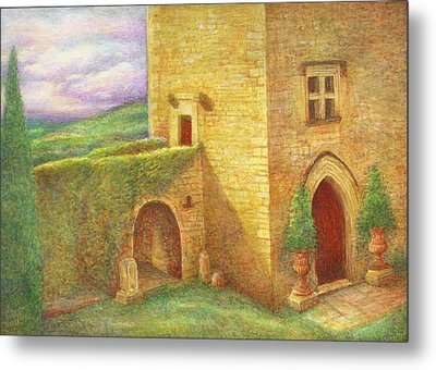 Metal Print featuring the painting Enchanting Fairytale Chateau Landscape by Judith Cheng