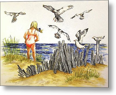 Encountering The Winged Ones Metal Print by Yvonne Blasy