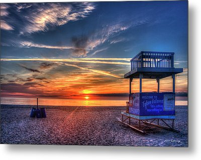 Metal Print featuring the photograph Endless Summer Sunrise Lifeguard Stand Tybee Island Georgia Art by Reid Callaway