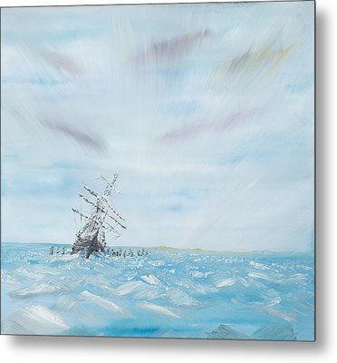 Endurance Trapped By The Antarctic Ice Metal Print by Vincent Alexander Booth