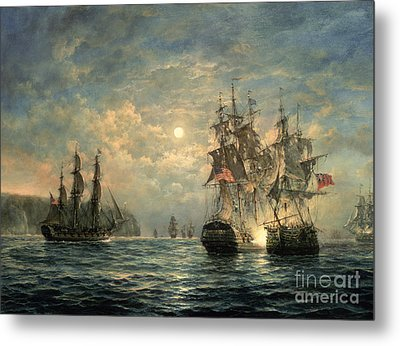 Engagement Between The 'bonhomme Richard' And The ' Serapis' Off Flamborough Head Metal Print by Richard Willis
