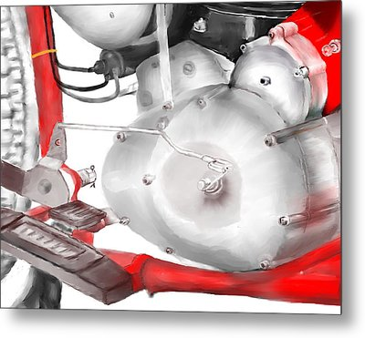 Metal Print featuring the drawing Engine Detail by Terry Frederick