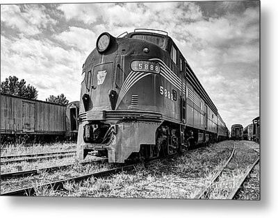 Engine Number 5888 Black And White Metal Print by Mel Steinhauer
