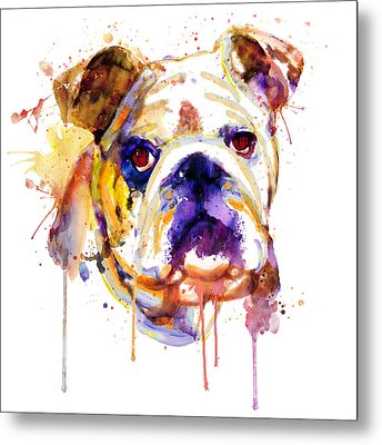 Metal Print featuring the mixed media English Bulldog Head by Marian Voicu