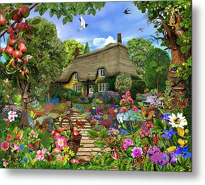 English Cottage Garden Metal Print by Gerald Newton