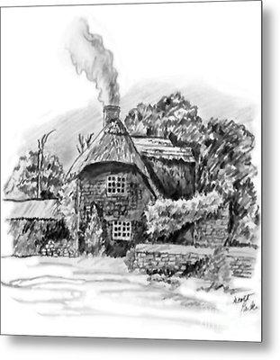 English Cottage Metal Print